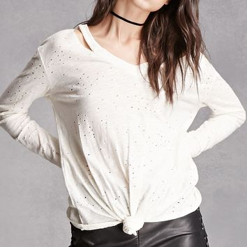 Distressed V-Neck Top