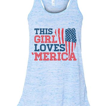 This This Girl Loves 'Merica - Bella Canvas Womens Tank Top - Gathered Back & Super Soft