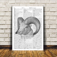 Animal poster Goat art Wall decor Dictionary print RTA127
