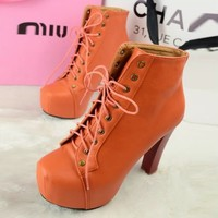 Girl's Autumn Cool Block High Heels Shoes Ankle Boots Bright Color Lace Up 1nV