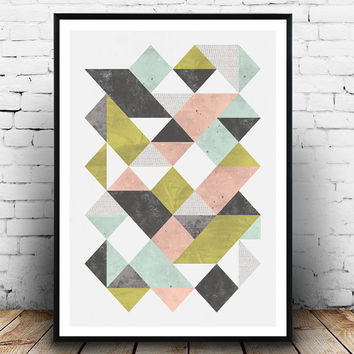 Triangles abstract print, Geometric poster, Watercolor abstract, Minimalist poster, wall art,  modern art, office decor, mid century art