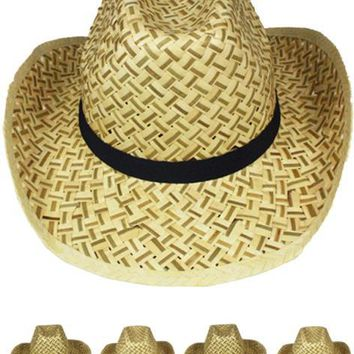 Straw Cowboy Hat with Black Band - CASE OF 72