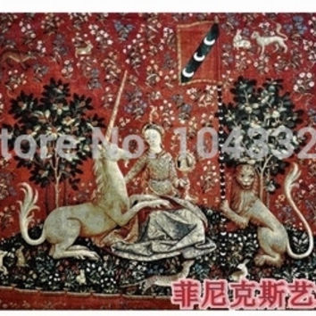 Belgium medieval home decoration textile unicorn visual 138*103cm jacquard fabric picture tapestry wall hangings pt-69