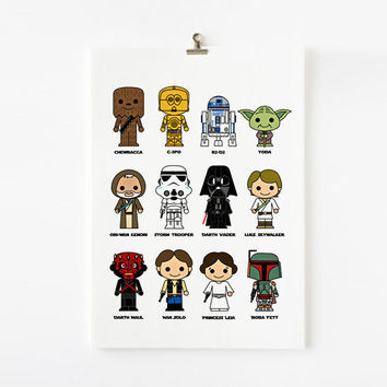 Cute Star Wars 8x10 art print by loopzart on Etsy