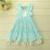 Alice Blue Eyelet Ruffle Dress