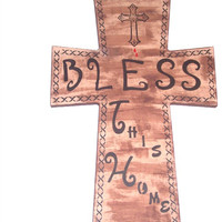 Bless This Home - Christian Wall Hanging - Spiritual Wall Art - Neutral Cross - Church Decor - Decorative Cross - Handpainted w/Stencil