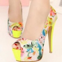 Flora Print High Heels with Peep Toe Design Yellow from topsales