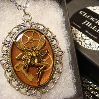 Fairy with Tiny Key and Gears Steampunk Style Necklace made with Watch Part Gears (1929)