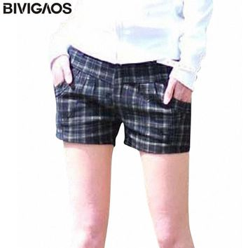 BIVIGAOS Summer Fashion Women's All-match Casual Low-waist Black Plaid Shorts Boot Cut Jeans Female Show thin Shorts For Women