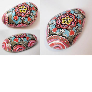 Valentines day gift, Mandala Painted stone, Pebble Art, Rock Stone Art, I love you gift, Mandala painting, yoga gift, Boho yoga room decor