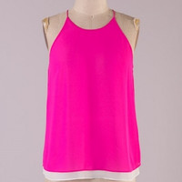 Daydreamer Sleeveless High Neck Layered Blouse - Hot Pink