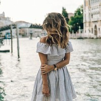 Women's Off Shoulder Striped Sun Dress