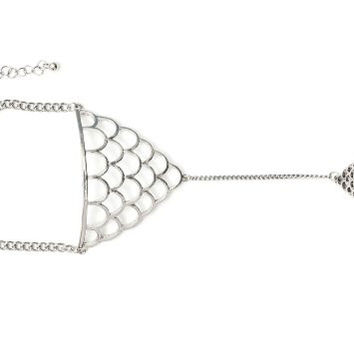 Scaled Motif Handpiece Ring Chain Bracelet BA32 Exotic Silver Tone Bangle Fashion Jewelry
