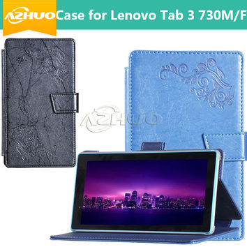 Newest For Lenovo Tab 3 730 730M 730F 7 inch Tablet Case , Leather Cases Flip Cover for lenovo tab3 730  + gift