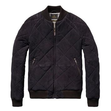 Midnight Navy Quilted Suede Bomber Jacket by Scotch & Soda