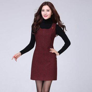 2018 New Fashion Women Autumn Winter Lattice Woolen Vest Dress Houndstooth Sundress Thousand Birds Big Size Morality Dress S-5xl