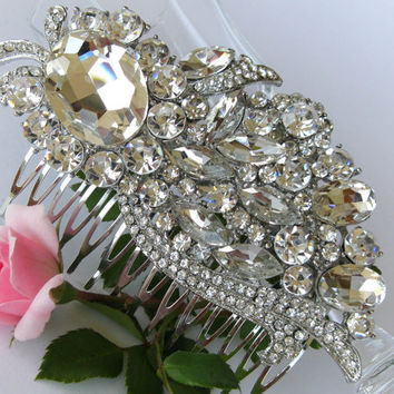 """Swarovski Crystals Bridal Hair Comb """"Leaves Have a Soul"""", Wedding Hair Pieces, Rhinestone Combs, Wedding Hair Accessories, Bridal Headpieces"""