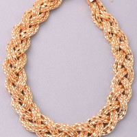 Braided Chain Thick Choker Necklace - Gold or Silver