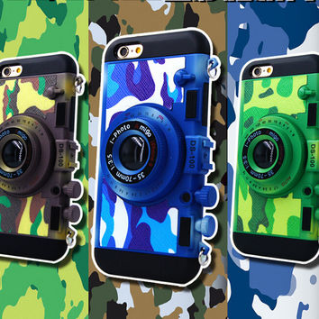 Camouflage Camera Case Cover for iPhone 7 7Plus & iPhone se 5s 6 6 Plus