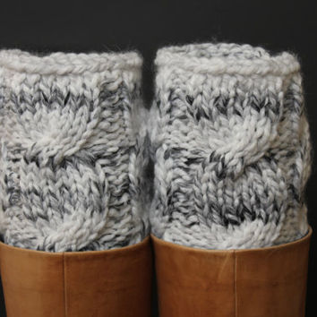 women's leg warmers, leg warmer, knit knitting, boot cuffs boot socks gray hand knit leg warmers Christmas Holidays gift ideas