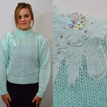 Pastel Sweater Floral Iridescent Sequin Fairy Kei Kawaii Grunge Turtleneck Vintage Women's Clothing Large 1980's 1990's Blue Mint Seafoam