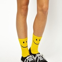 Monki Polly 2-Pack Smiley Sock at asos.com