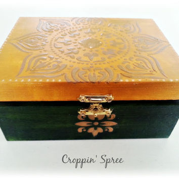 Handmade Indian Jewellery or Trinket Box. Tarot Card Storage. Wooden, Ornate, Ready to Ship. Layered with Paint and Hardware. Green & Yellow