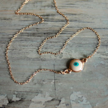 Evil Eye Necklace  Gold Plated Murano Glass by MesaBlue on Etsy