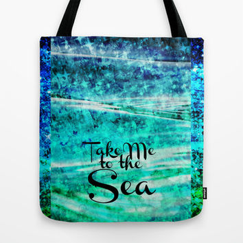 TAKE ME TO THE SEA - Typography Teal Turquoise Blue Green Underwater Adventure Ocean Waves Bubbles Tote Bag by EbiEmporium