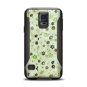 The Vintage Green Tiny Floral Samsung Galaxy S5 Otterbox Commuter Case Skin Set