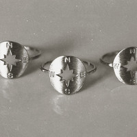 Compass Ring Midi Stackable Gypsy Ring Size 7 Silver