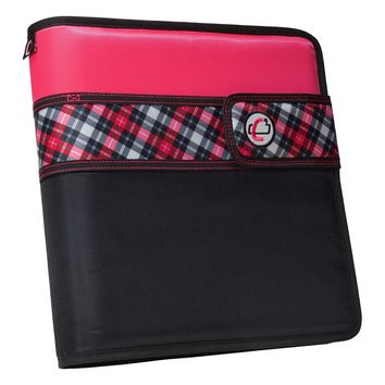 Case-it Open Tab Velcro Closure 2-Inch Binder with Tab File, Pink Plaid