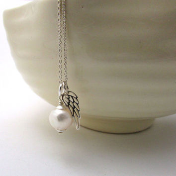 Guardian angel necklace, June birthstone necklace, white pearl angel necklace, memorial jewelry, sterling silver freshwater pearl pendant
