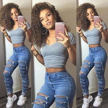 DCCKHTG Distressed  High Waist Skinny Jeans