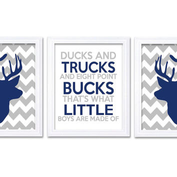 Deer Nursery Art Deer Head Prints Set of 3 Ducks Trucks Bucks Little Boys Are Made of Navy Blue Grey Chevron Kid Wall Decor Forest Woodland