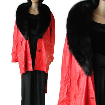 Vtg GUCCI Leather Coat Fur Trim Red Rhinestone Jacket Designer 80's 90's Vintage Clothing Outerwear Made in Italy Large