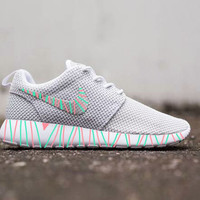 Womens Custom Nike Roshe Run sneakers, South Beach teal/ Pink petals, Customized sneakers, Fashionable design,