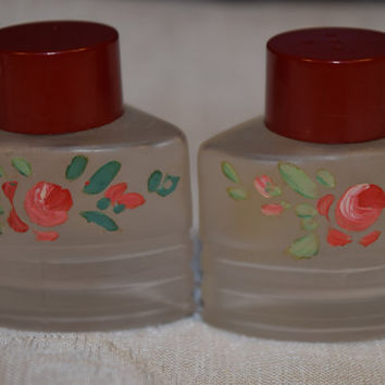 Glass Art Hand Painted Salt Pepper Shakers Vintage Glass Art Owens-Illinois Red Rose Shabby Chic Salt & Pepper Shakers Set Art Deco Style
