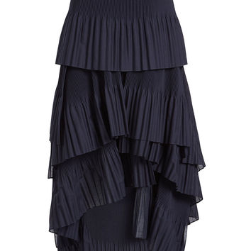 Pleated Skirt with High-Low Hem - Brunello Cucinelli | WOMEN | KR STYLEBOP.COM