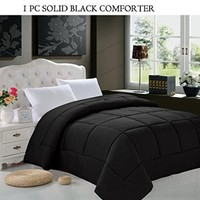 Elegant Comfort Luxury Down Alternative Over-Filled Comforter/Duvet Cover Insert Hypoallergenic, Full/Queen, Black