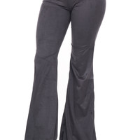 FAUX SUEDE FLARED PANT - SALE