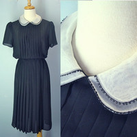 Vintage 80s Sheer Black Dress Pleated Front Peter Pan Collar