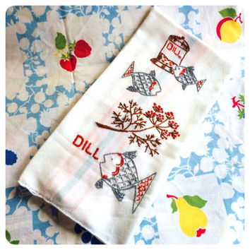 Embroidered Kitchen Towel Fish and Dill Vintage Striped Dish Towel Feed Sack Towel
