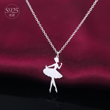 Real. 925 Sterling Silver Fairy Girl /Ballet dancer Girl Necklace Pendant Plain Band Charm Gift- New GTLX415