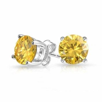 14K Solid White Gold Round Canary Yellow CZ Stud Earrings Basket Setting.
