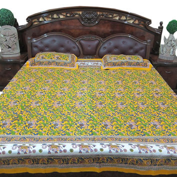 Bohemian Indian Tapestry Bedding Cotton Bedspread Pear Green Bedroom Decor