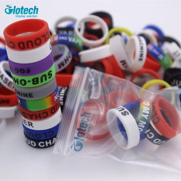 Glotech 20PCS silicone rubber band vape ring for 18650 22mm rda mechanical mods decorative protection band ecig accessories