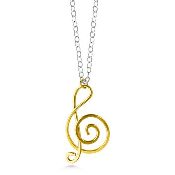 Music note necklace, gold fill treble clef, sterling silver chain, mixed metals