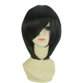 Trendy Women's Medium Straight Side Bang Inclined Bang High Temperature Fiber Cosplay Wig