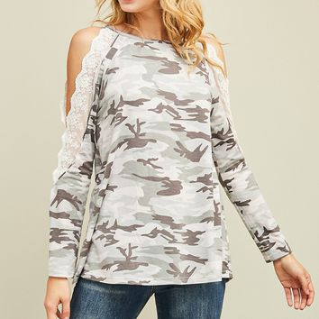 Pre-Order Camo Cold Shoulder Lace Sleeve Top